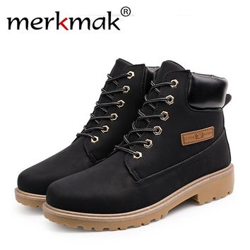 Merkmak 2017 Shoes Men Fashion Casual High Top British Style Ankle Men Boots PU Leather Breathable Autumn Winter Shoes For Men