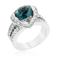 Garett Vintage Deep Blue Oval Cut Engagement Ring | 2.8ct | Cubic Zirconia