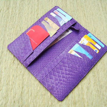 Python Leather Women Wallet with Coin Slot Purple by mrhanz
