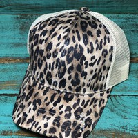 Leopard high ponytail hat