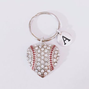 Initial Baseball Heart Softball Sports Mom Mother's Day Gift For Her Keychain