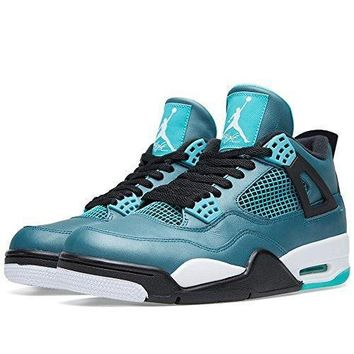 "Nike Mens Air Jordan 4 Retro 30th ""Teal"" Teal/White-Black Leather Basketball Shoes ni"