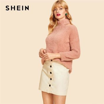 SHEIN Pink Cut Out High Neck Solid Fluffy Sweater Casual Cold Shoulder High Neck Long Sleeve Pullovers Women Autumn Sweaters