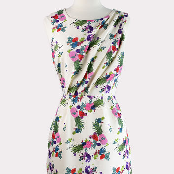 Pineapple Print Sheath Dress
