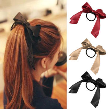 Hair Ribbon accessories 1 piece Women Tiara Satin Ribbon Bow Hair Band Rope Scrunchie Ponytail Holder 7 Color Hot