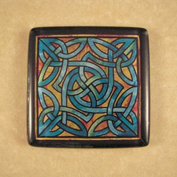 Blue, Green, and Rust Celtic Knot Stained Decoupage Glass Window Square Glass Tile Paperweight Home Decor