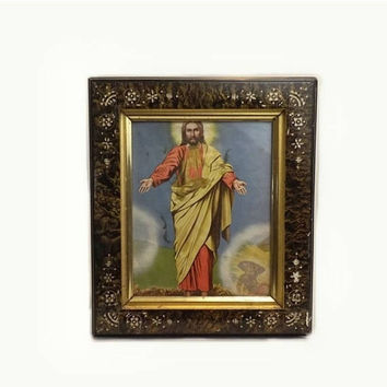 SALE Carved Lacquer Wood Framed Print, The Resurrection of Christ, Jesus Shrine Wall Hanging, Vintage Catholic Relic, Christian Religious Ic