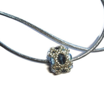 Beaded charm pendant in blue and silver. Seed beads jewelry