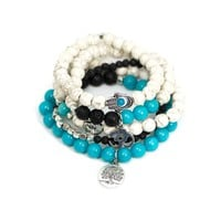 Blue Jade, Howlite and Lava Stone Yoga Mala Bracelets Set with Tree of Life, Buddha, Hamsa & Ohm Charms