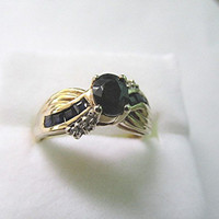 Vintage natural sapphire diamond 9ct gold ring US size 8 September birthstone.