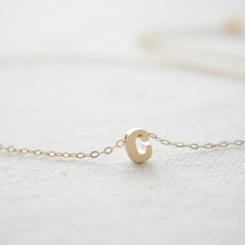 """Gold Letter, Alphabet, Initial  """"c"""" necklace, birthday gift, lucky charm"""