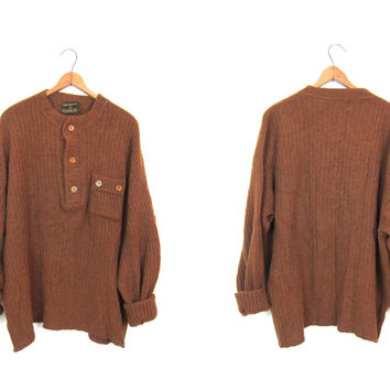 Vertical Rib Wool HENLEY Sweater Rust Brown Button Up Oversized Boyfriend Sweater Cozy Fall 60s Sweater Ribbed Knit Henley Shirt Mens XL