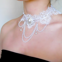 White lace choker necklace - pearl charmed beaded - vintage wedding bridal gothic steampunk jewelry gift