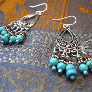 Bronze and Turquoise Colored Jasper Chandelier Earrings