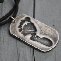 Baby Footprint Necklace--Your Baby's Actual Footprint--Dog Tag--Fine Silver--New Dad necklace--infant loss- memorial-new baby-Rustic