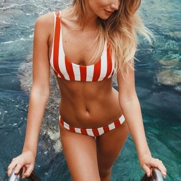 Fashion Sexy Ladies Stripe Print Vest Style Two Piece Bikini Swimsuit Bathing(Two Side Wear Reversible) White Red