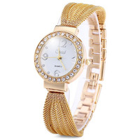 Cussi Fashional Diamond Quartz Watch Bracelet Steel Net Band for Women