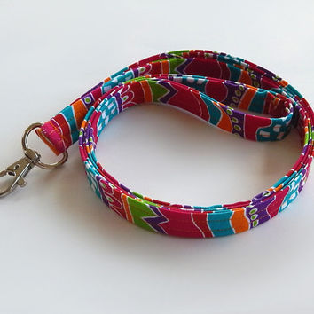 Colorful Lanyard / Abstract / Hot Pink Keychain / Turquoise / Key Lanyard / ID Badge Holder / Cute Lanyards