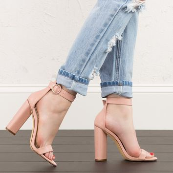 Heeled Sandals in Dusty Pink and Black