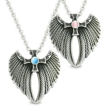 Angel Wings Celtic Cross Couples Best Friends Simulated Turquoise Pink Simulated Cats Eye Necklaces