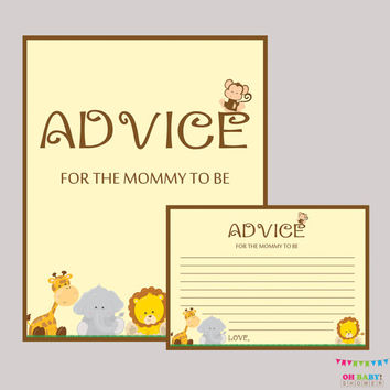 Advice for Mommy to Be Cards and Sign Safari Baby Shower Printable - Instant Download Safari Advice for New Mommy - BS0001-N
