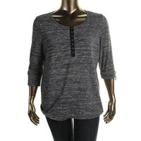 Style & Co. Womens Plus Knit Marled Henley Top