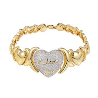 Ladies 10k Gold Tone Hugs & Kisses XOXO Link Style Bracelet I love Heart Center
