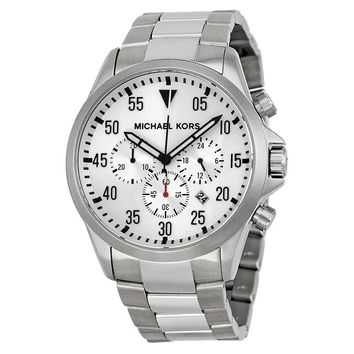 NEW MICHAEL KORS SILVER TONE CHRONOGRAPH STAINLESS STEEL BRACELET WATCH MK8331