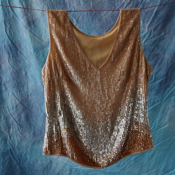 Flapper Style Top Silk Chiffon Ombre Pale Champagne Nude Copper Iridescent Sequined Shell Art Deco Style