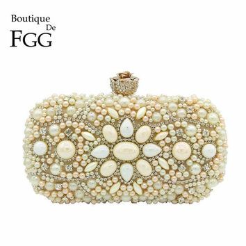 Boutique De FGG Hand Made Champagne Beaded Crystal Women Evening Clutch Bag Metal Minaudiere Wedding Party Bridal Handbag Purse