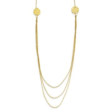 14K Yellow Gold 3 Layer Ropa Chain Texture Side Circles W/ 2in Ext Necklace 16 Inch