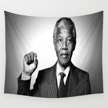 Nelson Mandela Wall Tapestry by Neon Monsters