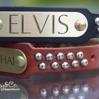 Personalized Leather Studded Collar