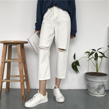2018 Summer Style Black White Hole Ripped Jeans Women Straight Denim High Waist Pants Capris Female Casual Loose  Jeans