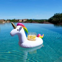 Inflatable Unicorn Drink Holder Pool Float - Hold Your Cup, Can or Bottle in The Pool or at the Beach