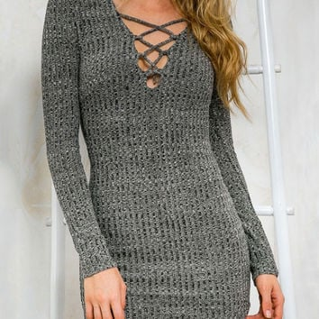 Gray Front Cross V-Neck High-Waist  Long Sleeve Mini Bodycon Bandage Dress