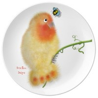 Funny Lovebird with bee Porcelain Plate