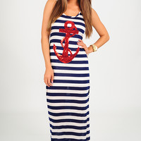 Sailing To Nowhere Dress: Navy/Red