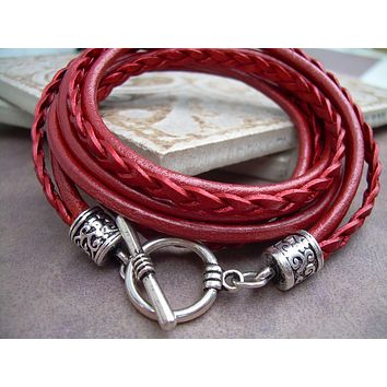 Womens  Leather Bracelet , Triple Wrap, Triple Strands, Metallic Red, Womens Bracelet, Womens Jewelry, Leather Bracelet,Gift for Her,Wedding