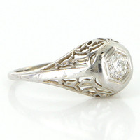 Antique Art Deco 18 Karat White Gold Diamond Filigree Engagement Ring Fine Vintage Bridal Estate Jewelry