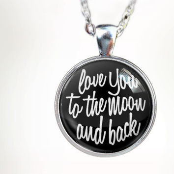 To The Moon (BLK) : Glass Dome Necklace by HomeStudio. Round art photo pendant jewelry. or Key Ring Keychain Gift Present