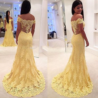 Vestido de festa New Mermaid Prom Dresses 2016 Cap Sleeve Floor Length Lace Long Evening Dress Party Dresses
