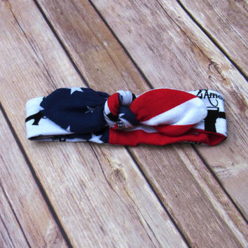 Knotted Baby Headband- 4th of July Headband - Top Knot Reversible Headband-  2nd Amendment Patriotic - Infant Tie Head wrap - Ready to Ship