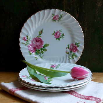 Vintage Pink Roses Ironstone Dessert Plates - Set of Four - Johnson Bros., England - Snowhite Regency Pattern - Cottage Kitchen Decor