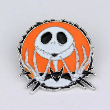 Movie The Nightmare Before Christmas Jack and Sally Skull Fashion Lapel Pins Brooch Gifts for Fans Friends Bag Hat Accessories