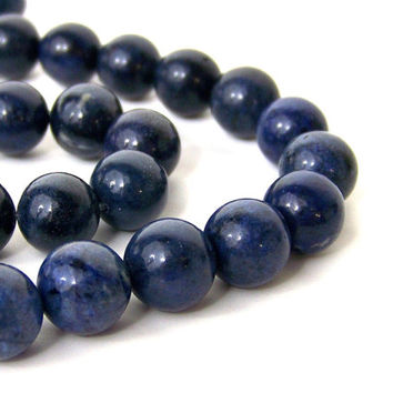 Blue Dumortierite Beads, 10mm round gemstone bead, Full strand 607S
