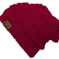 Thick Slouchy Knit Oversized Beanie Cap Hat - Red