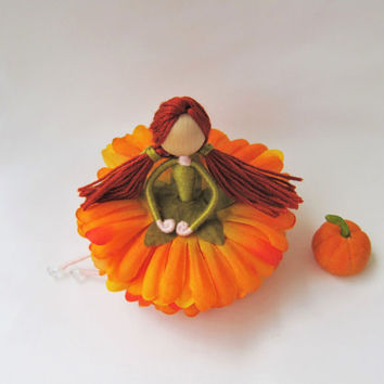 Pumpkin Fairy, Fall Fairy, Thanksgiving Fairy, Vintage Fairy, Orange Flower Fairy, Fall Decoration, Fall Ornament, Flower Fairy Doll.