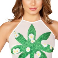 Green Grass and Daisies Leaf Sheer White Halter Top