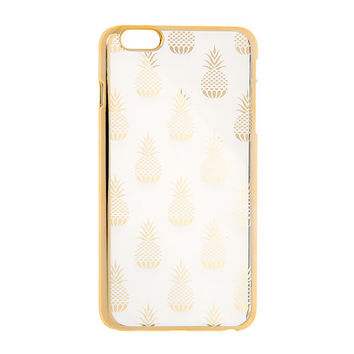 Clear and Gold Pineapples Phone Case - iPhone 6/6s Plus